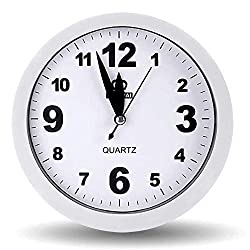 OCEST 6 Inch Simple Small Bedside Student Desk Clock, Battery Operated Travel Kids Analog Alarm Clock, No Ticking Analog Quartz Bedroom Office Kitchen Living Room Decorative Wall Clock