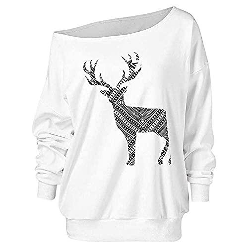 songqin Moda fuera de los hombros para la Navidad, mujeres Wapiti impreso manga larga sudadera suéter casual Tops