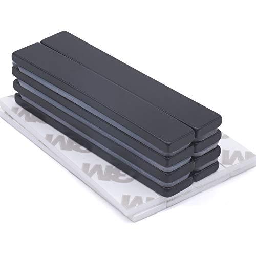 Stark Neodym Magnete mit Epoxidbeschichtung, 8 Stück Seltenerdmagnete, Anti-Rost starkes N52 60 x 10 x 3 mm, Rare Earth Magnete mit Doppelseitigem Klebeband