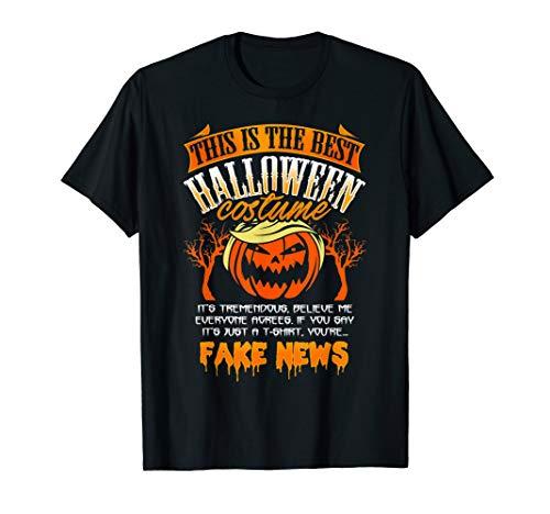Donald Trump Halloween Costume Gift Best Fake News Pumpkin T Shirt