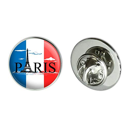"""GRAPHICS & MORE Paris France Eiffel Tower and Flag with Clouds Metal 0.75"""" Lapel Hat Pin Tie Tack Pinback"""
