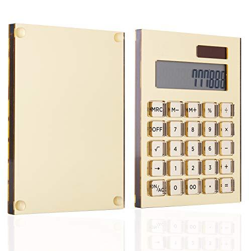 Batería de acrílico de oro transparente + Calculadora básica solar de Draymond Story - Calculadora dual de escritorio para el hogar (pantalla LCD de 12 dígitos)