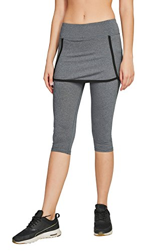 slimour Damen Tennisrock mit Leggings Laufrock mit Taschen Caprihose 2 in 1 Caprihose Fitness Golfrock Skort Rock Hose Tenniskleid