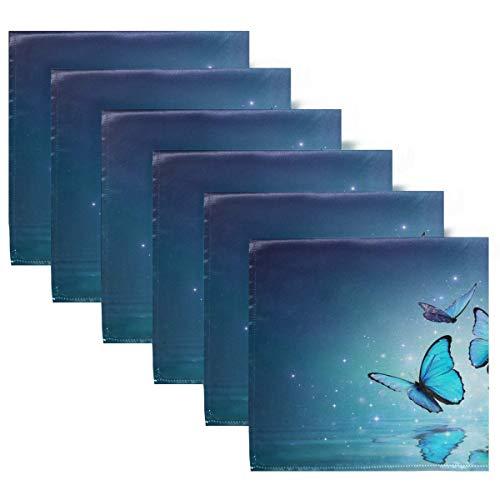 Servilletas de Tela Servilletas de Cena de Mariposa Azul Juego de 6, Servilletas de Mesa Reutilizables para cócteles, Vacaciones, Bodas, hogar, decoración