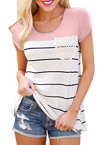 Flying Rabbit Damen Shirt Sommer Kurzarm Farbblock Streifen Tops Rundhals Bluse, Stil1-rosa, M