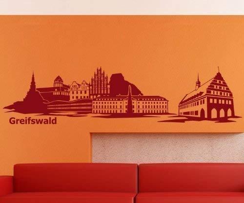 Wandtattoo Skyline Greifswald Wohnzimmer XXL Aufkleber Deutschland Stadt 1M169, Farbe:Königsblau Matt;Länge des Motives:240cm