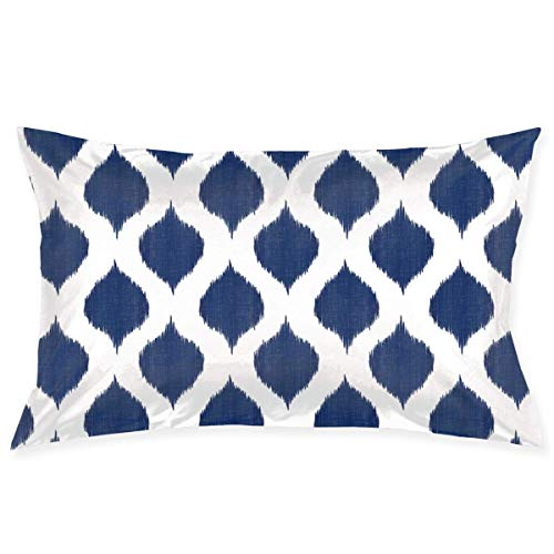 okstore1988 Pillow Covers Pillowcase Small Scale Lela Ikat in Navy Decorative Pillow Cover Soft and Cozy, Standard Size 20'x30' with Hidden Zipper Cotton Linen Cushion Covers