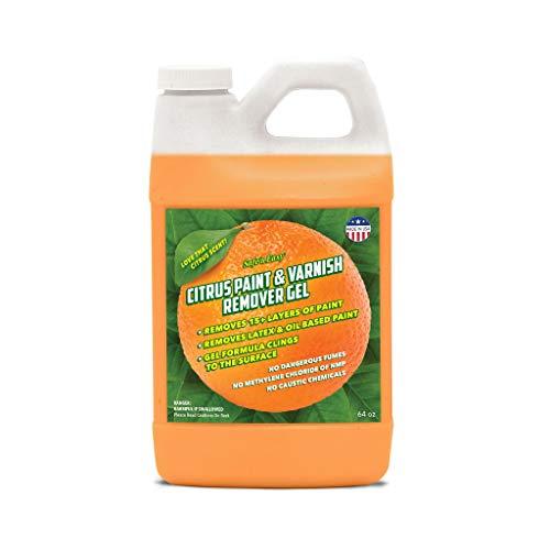 Safe 'n Easy Citrus Paint & Varnish Remover Gel, Strips 15+ Layers of Paint Safely, No Hazardous Fumes, Non-Toxic, Citrus Orange Scent (1/2 Gal)