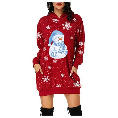 SOMESUN Kleid Damen Minikleid, Frauen Weihnachtskleid Weihnachten Print Langarm...