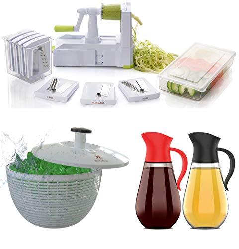 Brieftons 7-Blade Spiralizer, Brieftons Salad Spinner (6.2-Quart), Brieftons Oil & Vinegar Dispensers