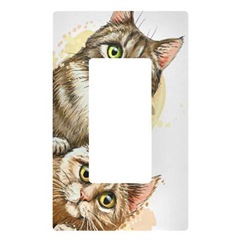 Placa decorativa de pared con interruptor de luz – Lindos gatos enchufes interruptor cubierta de la placa de interruptor de la cubierta de salida eléctrica para el dormitorio, la cocina y