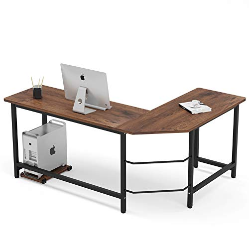 Tribesigns Industrial L-Shaped Desk,...