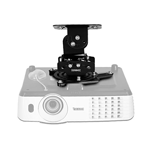 Duronic Projector Mount PB03XB | Bracket Fixing for Ceiling | 13.6kg Capacity | Universal | Heavy Duty | Fittings Included | Rotate 306 °, Swivel 40 °, Tilt 60° for Easy Projection Set-Up