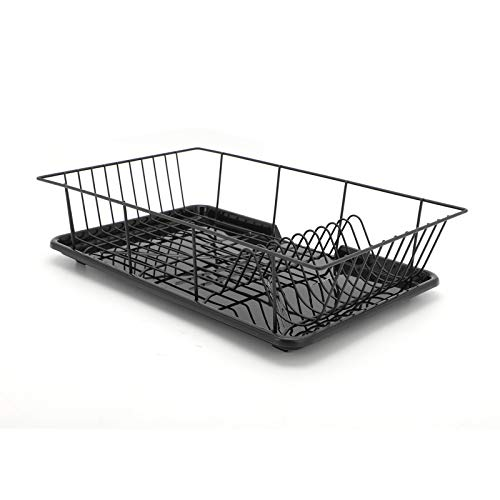 Youyijia Dish Drainer Rack with Drip Tray and Cutlery Holder Plate Draining Basket Rack Kitchen Drying Tools Black