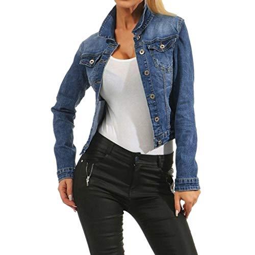Giacca Jeans Donna Elegante Vintage Giacche Cappotto Donna Denim Fantasia Casual Cappotti di Jeans Giacchetta Corta Pullover Autunno Sweatshirt Turmblr (Blu, M)