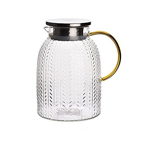 HDHUIXS Olla de vidrio con tapa y asa, tetera de vidrio, tetera y cafetera, olla de vidrio de borosilicato, gran capacidad apta para nevera y cafetera (65 onzas)