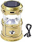 LDG WARE Solar Emergency LED Rechargeable Light Lantern with USB Mobile Charging Torch Point and 2 Power Source, Golden