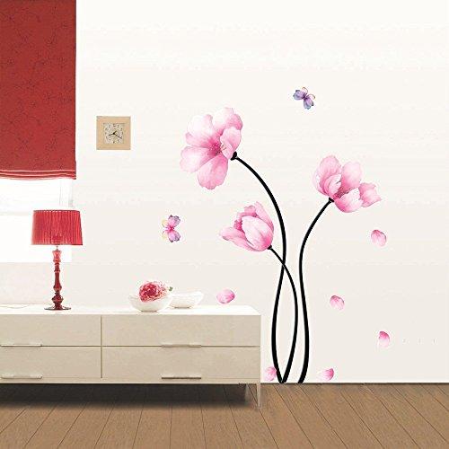 Sticker Mural Fleurs Roses et Papillons