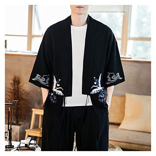 VIAIA CRANA DE Estilo Chino Bordado Cardigan Spring Summer Outwear Abrigo Delgado para Ropa de algodn para Hombre Retro Cosplay Disfraces Kimono (Color : Negro, Size : L)