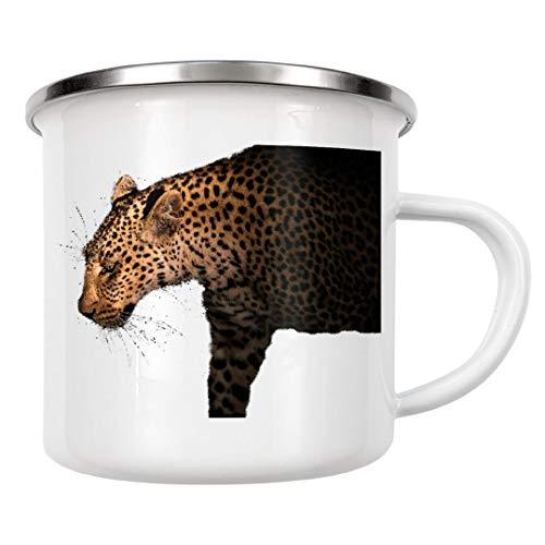 artboxONE Emaille Tasse Stalking Leopard von Thomas Frömmel - Emaille Becher Natur