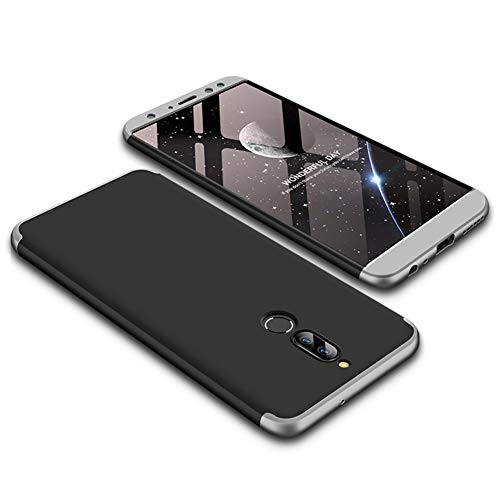 JMGoodstore Funda Compatible Huawei Mate 10 Lite,Carcasa 360360 Grados Integral Ambas Caras+Cristal Templado,3 in 1Slim Dactilares Protectora Skin Caso Cover Plata+Negro