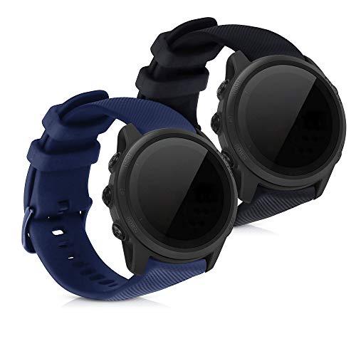 kwmobile 2X Pulsera Compatible con Garmin Forerunner 745 - Brazalete de Silicona Negro/Azul Oscuro sin Fitness Tracker