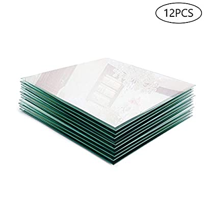 """Murrey Home 12"""" Beveled Edge Mirror Tray Square for Wedding Decorations/Decor, Candle Tray/Plate for Baby Shower, Parties Centerpieces, Set of 12, 3mm"""