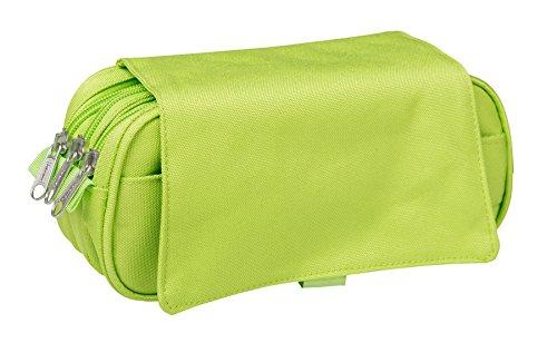 Idena 21418estuche de–Funda con tapa y 3compartimentos, 23x 12x 8cm Verde