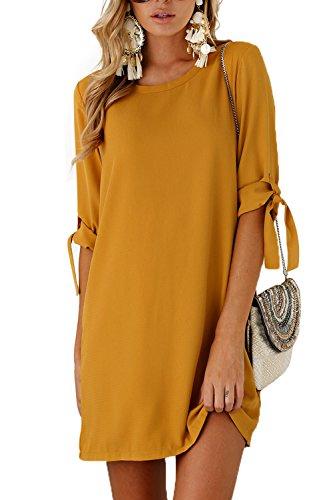 Taigood Donna Estivi Vestito Eleganti Camicia Abito 1/2 Manica Abiti Spiaggia Casuale Mini Dress Donna Grande Dimensione