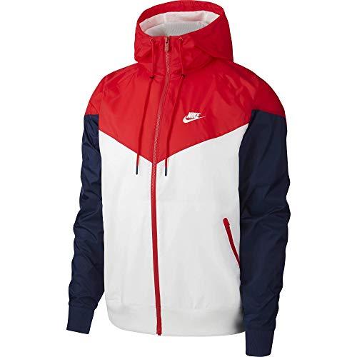 Nike Windrunner Hd Jake da uomo, Uomo, AR2191, Bianco/University Red/Midnight, M