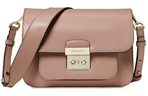 Includes two interchangeable shoulder straps, one leather and one woven canvas. Smooth leather; Lock closure; pocket under the flap Exterior: rear snap slip pocket; Gold-tone hardware Interior: zip pocket; 3 slip pockets Small size bag Approx 6-in H ...