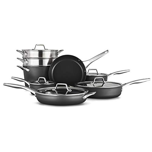 Calphalon 2052665 Premier Hard-Anodized Nonstick 13-Piece Cookware Set, Black