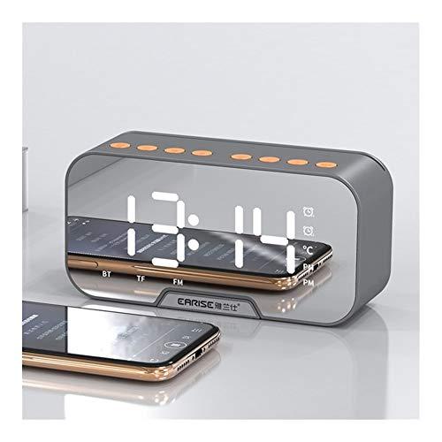 Reloj de Alarma Personalizado Reloj de Mesa Espejo Reloj Despertador FM de Radio inalámbrica Bluetooth Reproductor de música Digital con Doble Modo de Alarma electrónica Escritorio Reloj
