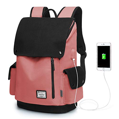 WindTook Backpack Daypack 15 Zoll Laptop Rucksack Schulrucksack Tagesrucksack mit USB Anschluss für Uni Büro Alltag Freizeit, Rot