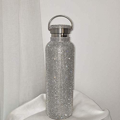 XKMY Botella termo caliente y fría de agua de acero inoxidable con visualización inteligente de temperatura al vacío, taza de regalo para hombres y mujeres (color plateado B 500 ml)