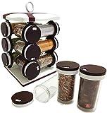 ASP Online Traders Scaffale Rotante per Organizer di spezie con Torre Girevole e 12 vasetti per riporre Le Erbe aromatiche