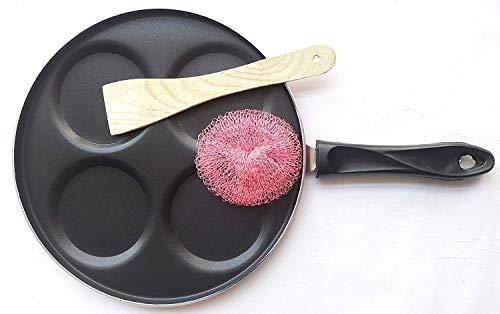 Sahishnu Online And Marketing Nonstick Uttapa Tawa, Uttapa Pan, Non-Stick 4 Cavity Mini Uthapam Tawa with Handle, Pancake Tawa