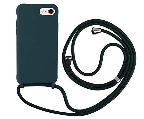 MEIVS Funda Compatible con iPhone 6/6S/7/8, Ajustable Collar Correa de Cuello CordónCarcasa de Silicona-Verde Oscuro