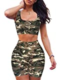 GOBLES Women's Sexy Bodycon Tank Crop Top Shorts Sets Club 2 Piece Outfits Camouflage