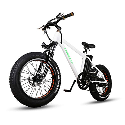 """nakto 20"""" 300W Fat Tire Electric Bicycles Snow Beach Mountain Bike Shimano 6 Speed Gear E-Bike with Removable Waterproof Large Capacity 36V10A Lithium Battery and Battery Charger Electric Bike"""
