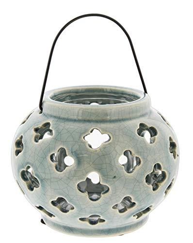 Lucky Winner Round Ceramic Planter/Candle Lantern with Flower Cutout Design, 5.5