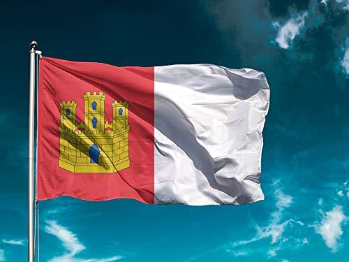 G1 | Bandera Castilla La Mancha | Bandera Ciudades/Comunidades | Medidas 150cm x 85cm | Fácil colocación | Decoración Exteriores (1 Unidad)