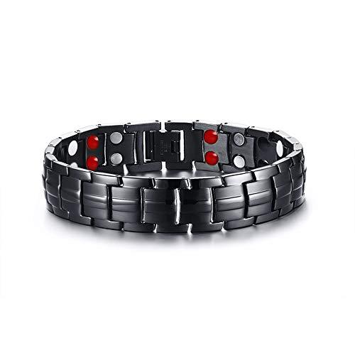 WANGLXTC Fijne Titanium Steel Armband, Artritis Pijn Relief Titanium Gezondheid Magneten Polsband, Magnetische Armband voor Mannen, met Sieraden Doos Unisex