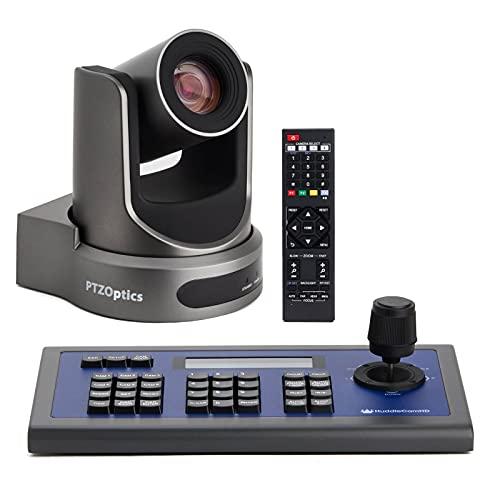 PTZOptics 20X SDI Gen 2 Live Streaming Broadcast Camera, Grey+ HuddleCamHD HC-Joy-G3 3rd Generation Serial PTZ Joystick