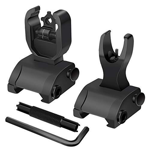 AWOTAC Flip Up Sight Backup Battle Sights Front & Rear Iron Sights Black Includes Front Sight Adjustment Tool Fits Picatinny & Weaver Rails