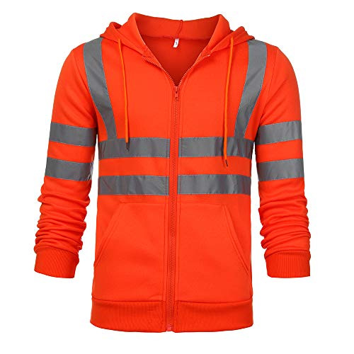Eghunooye Herren Kapuzen Sweatshirt Reflektierend Jacke Sicherheit Verkehr Arbeitsjacke Warnschutzjacke Gelb Orange Reflektionsstreifen Sicherheit Kapuzenpullover Arbeitskleidung (Orange, XL)