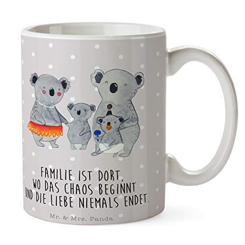 Mr. & Mrs. Panda Frühstück, Teetasse, Tasse Koala Familie mit Spruch - Farbe Grau Pastell