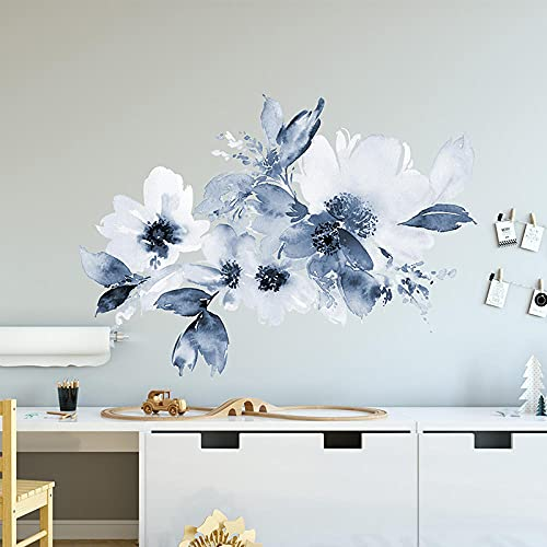 Shui Ink Painting Flower Wall Stickers For Living Room Bedroom Children'S Room Self-Adhesive Decorative Stickers