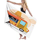 Beach Towel Bath Towel,Mexican Fast Food Delivery Truck with A Big Sombrero Hat Graphic,for Swim SPA Travel Yoga Sports Camping Print1