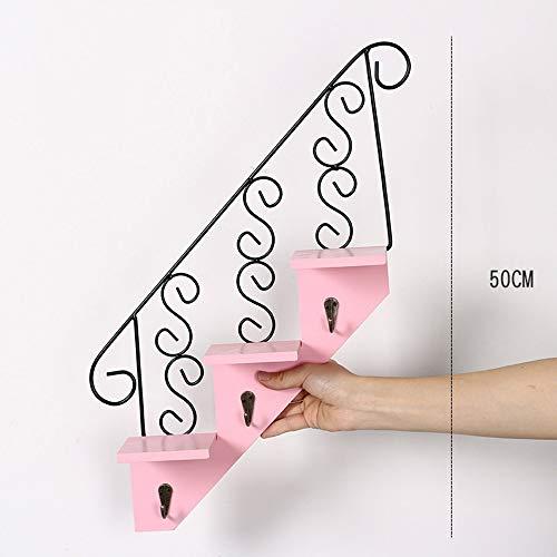 DAMAI STORE Inicio Personalidad Escalera Estante De Pared Habitación En La Habitación Decoración De Pared/Tienda De Té Decoración For Colgar En La Pared (Color : Pink)